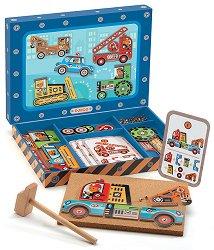 Дървен конструктор - Коли - играчка