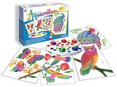 Оцветявай с акварелни бои - Птици - Творчески комплект за рисуване - творчески комплект