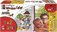 """Трансферни бои за стъкло - Ферма - Комплект от 6 цвята x 80 ml от серията """"Fun&fancy"""""""