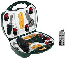 """Акумулаторна бормашина с инструменти - Bosch - Куфар с детски инструменти от серията """"Bosch mini"""" - играчка"""