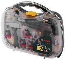 "Акумулаторна бормашина с инструменти - Bosch - Куфар с детски инструменти от серията ""Bosch mini"" -"