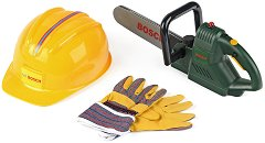 """Комплект верижен трион, каска и ръкавици - Bosch - Играчки от серията """"Bosch mini"""" -"""
