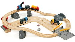 Детски влак с релси, камиони и строителни материали - Дървена играчка с аксесоари -