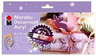 Матови акрилни бои - Decormatt - Коледен комплект с брокат и фигурки