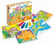 Оцветявай с цветен пясък - Динозаври - Творчески комплект за рисуване - несесер