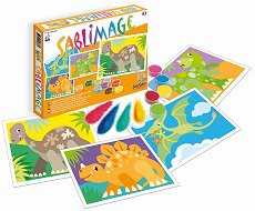 Оцветявай с цветен пясък - Динозаври - творчески комплект