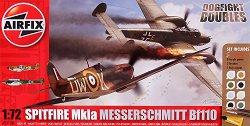 Военни самолети - Messerschmitt Bf110C/D и Supermarine Spitfire MkIa - Два сглобяеми авиомодела - комплект с лепило и боички -