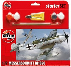 Военен самолет - Messerschmitt BF109E - Сглобяем авиомодел - комплект с лепило и боички - макет