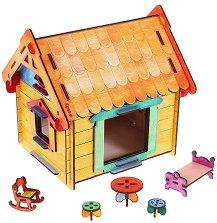 Куклена къща - Дървен конструктор за оцветяване -