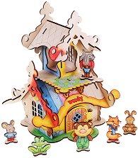 Къщичката на горските животни - Дървен конструктор за оцветяване -