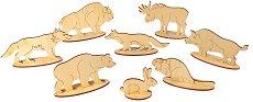 Горски животни - Дървени фигурки за оцветяване -