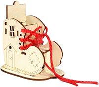 Приказна къщичка - Ботушче - Дървен конструктор за оцветяване - играчка