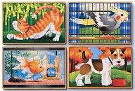 Домашни животни - Комплект от 4 дървени пъзела -
