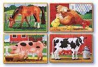 Животните от фермата - Комплект от 4 дървени пъзела - пъзел