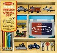 Превозни средства - Комплект дървени печати - играчка