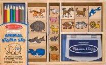 Животни - Комплект дървени печати - играчка