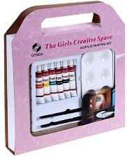 Акрилни бои - Комплект от 6 цвята с палитра и четки