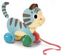 Котето Марсел - Дървена играчка на колелца -