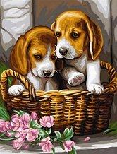 Нарисувай сам шедьовър - Кученца в кошница - Творчески комплект - играчка