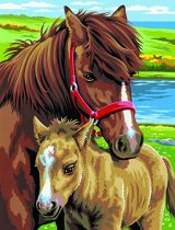 Нарисувай сам 2 картини - Коне - Творчески комплект за рисуване с акрилни бои - хартиен модел