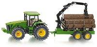 Трактор с ремарке за дървени трупи -
