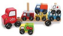 Автовоз с автомобили - Трафик - Дървена играчка -