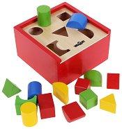 Кутия - Сортирай формите - Дървена образователна играчка - хартиен модел