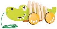 Крокодил - Дървена играчка за дърпане - раница