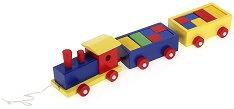 Влакче с два вагона - Дървена играчка за дърпане - играчка