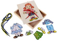 Облечи Люси - Дървена играчка за нанизване - творчески комплект