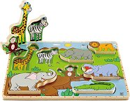 Диви животни - Детски дървен пъзел - пъзел