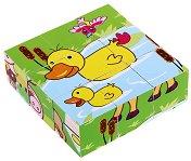 Дървени кубчета - Домашни животни - Образователна играчка - играчка