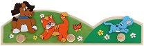 Детска дървена закачалка - Животни - несесер