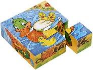 Дървени кубчета - Животни - Образователна играчка -