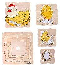 Яйце и кокошка - Дървен многослоен пъзел - пъзел