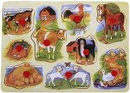 Домашните животни - Детски дървен пъзел - пъзел
