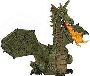 Крилат зелен дракон с пламък - фигура