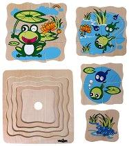 Развитие на жабката - Дървен многослоен пъзел - пъзел