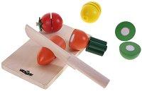 Дъска за рязане с плодове и зеленчуци - Дървена играчка - играчка
