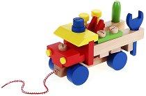 Камион с инструменти - Дървена играчка за дърпане - играчка