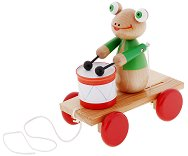 Жабка с барабан - Дървена играчка за дърпане - играчка