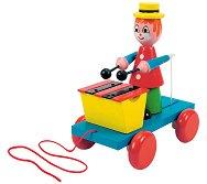 Клоун с ксилофон - Дървена играчка за дърпане - раница