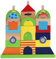Къщичка - Дървен конструктор за нанизване - играчка