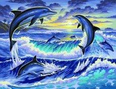 Нарисувай сам - Делфини - Творчески комплект за рисуване с акрилни бои - несесер