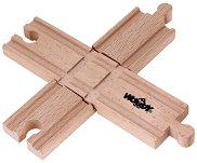 Кръстопът - Комплект от 2 дървени релси -
