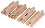 Дървени релси - Комплект от 4 броя - играчка