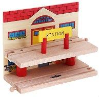 Двуетажна гара - Дървена играчка - играчка