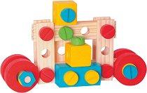 Дървен конструктор в кутия - 130 части - играчка