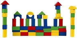 Дървен конструктор в кутия - 60 части - играчка