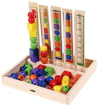 Нанижи мънистата - Дървена играчка за развитие на логиката - играчка